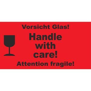 1000 Stk Hinweisetiketten rot HANDLE WITH CARE!/VORSICHT GLAS, 145x76mm