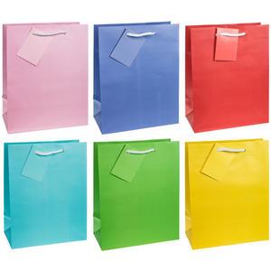 12 Stk Premium Geschenktüten Präsenttüten mittel UNI Trendfarben 227x180x100mm