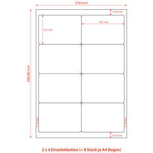 800 Stk Etiketten Labels selbstklebend weiß 99.1 x 67.7mm auf DIN A4