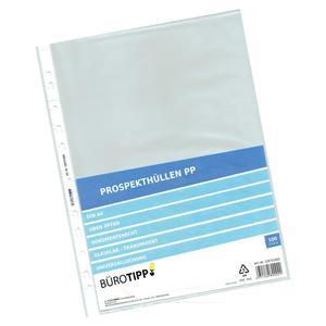 100 Stk Prospekthüllen A4, Standard, oben offen, glasklar, 40my