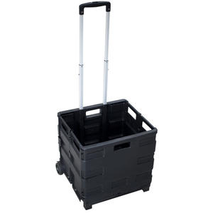 Klappbarer Einkaufstrolley large, mit Leichtlaufrädern, bis 35 kg, schwarz
