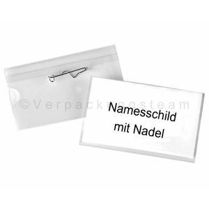 100 Stk Pavo Ausweishalter, Namensschildhalter mit Nadel, 40x75mm