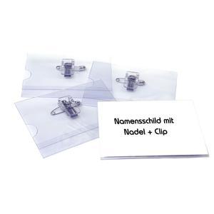 50 Stk Pavo Ausweishalter, Namensschildhalter mit Kombi-Clip + Nadel, 55x86mm