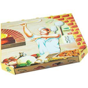 100 Stk Pizzakarton aus Mikrowellpappe mit neutralem Motiv, 32 x 32 x 3 cm