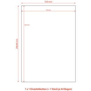 100 Stk Etiketten Labels selbstklebend weiß 210 x 297mm auf DIN A4