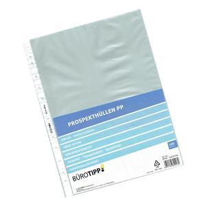 100 Stk Prospekthüllen A4, Business, oben offen, transparent/genarbt, 50my