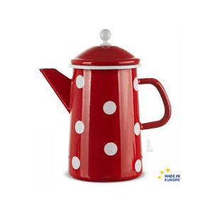 Münder Kaffeekanne / Teekanne Emaille 1,6l Tupfen rot weiß