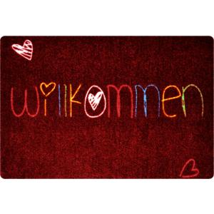 deco-mat Willkommen Herz 40x60cm Bunt-Rot ohne Rand