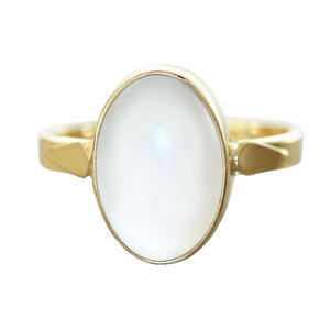 Ring Gold 750 Bergkristall Cabochon Goldring 18 Kt. Solitärring Damen