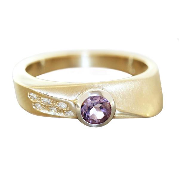 Ring Gold 585 Amethyst mit 6 Brillanten Damen RW 59 Diamantring massiv 14 Kt