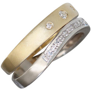 Massiver Goldring 585 mit Brillanten Ring Gelbgold Damenring Brillantring RW 56