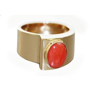 Breiter Ring Gold 750 mit Koralle Cabochon Goldring Korallenring Damen RW 55