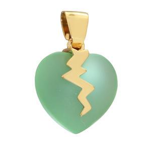 Herz Anhänger Gold 375 zartgrünes Herz Kettenanhänger 9kt Damen
