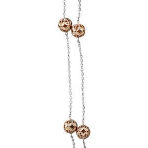 Collier 750 Weißgold mit Rotgold Kugeln Halskette 45 cm Kugelkette Gold 18 kt