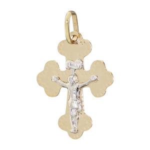 Dekoratives Kreuz Gold 585 mit Korpus Anhänger Goldkreuz Goldanhänger bicolor