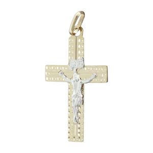 Kreuz Gold 585 mit Korpus Anhänger Goldkreuz 14 kt edler Goldanhänger bicolor