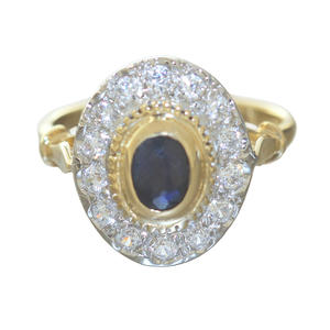 Ring Gold 585 Saphir und Zirkonias Ring eleganter ovaler Damenring bicolor 14 Kt