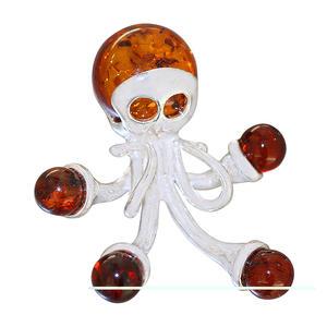 Anhänger Silber 925 Octopus Bernstein cognac echter Silberanhänger massiv