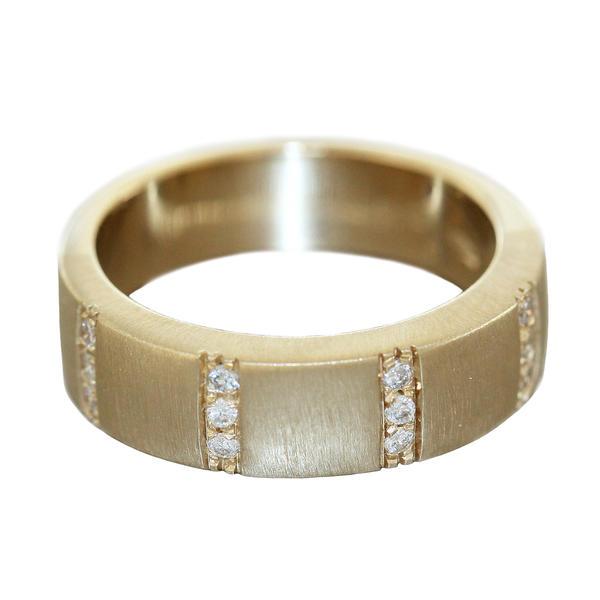 Bandring Gold 585 massiv RW 56 Brillantring Ring 7 gr. Damen 12 Diamanten