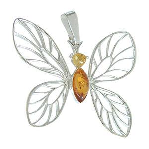 Anhänger großer Schmetterling Silber 925 mit Bernstein Silberanhänger Butterfly