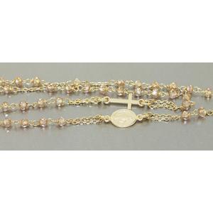 Rosenkranz Kette Silber 925 Gelbgold vergoldet Rosario Silberkette Kreuz Maria