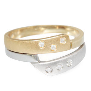 Ring Gold 585 bicolor massiv 6 Brillanten Goldring 14 Karat Damen RW 56