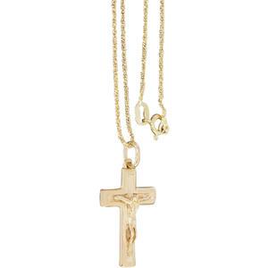45 cm Kette und Anhänger Kreuz Silber 925 Gelbgold vergoldet Silberkreuz Silberkette