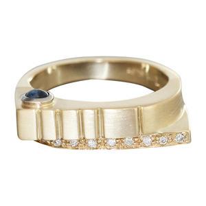 Ring Gold 585 mit Brillanten Saphir massiver Designer Goldring Diamantring RW 57