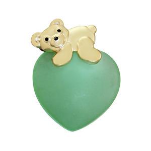 Anhänger Teddybär Gold 375 zartgrünes Herz mit Teddy Kettenanhänger 9kt Damen
