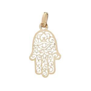 2,3 cm Hand der Fatima Anhänger Gold 585 Hamsa Gelbgold 14 Karat