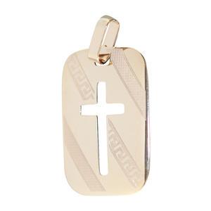 Anhänger Kreuz Gold 585 Gelbgold rechteckiger Kettenanhänger 14 Karat
