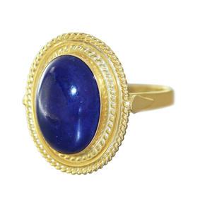 Ring Gold 750 Lapis Lazuli Goldring RW 51 großer Lapiscabochon Damenring 18 Karat