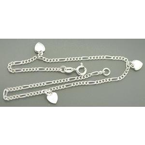Fußkettchen Silber 925 Herz Anhänger Figarokette Silberkette Fußkette Herzen