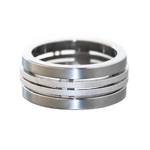 Massiver Ring Kombination Silber 925 und Edelstahl RW 49 breiter schwerer Bandring diamantiert