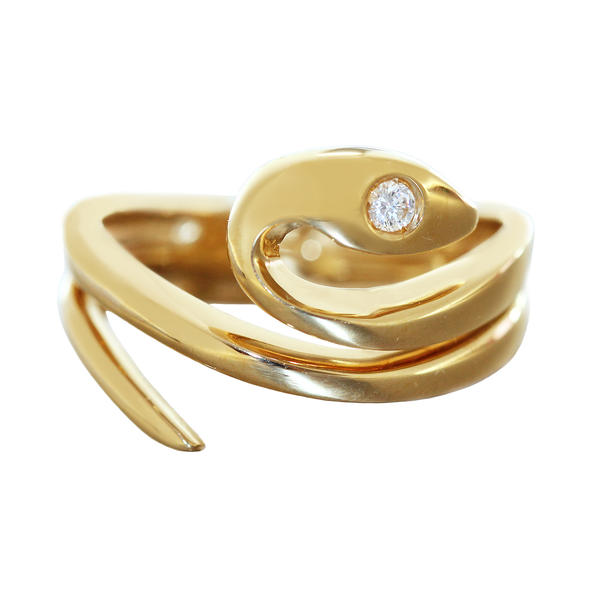 Schlangenring Gold 750 massiv mit Zirkonia Goldring RW 66 Ring Schlange