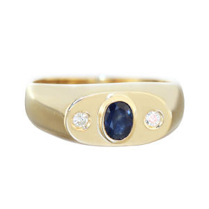 Allianzring Gold 585 Saphir Herrenring RW 62 Diamanten 0,10 ct. Brillantring 14 Kt.