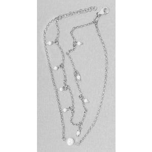 Fußkette Silber 925 Perlen Fußkettchen 2-reihig Karabiner Erbskette