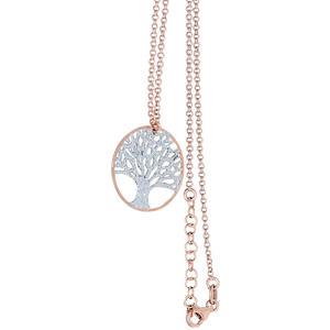 Kette und Anhänger Lebensbaum Slber 925 Rotgold Silberkette Collier Halskette