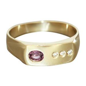 Klassischer Goldring 585 mit Rubin u. Brillanten Damenring Ring Gold 14 kt RW 63