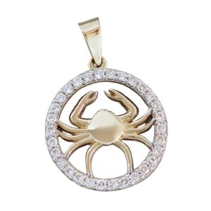 Sternzeichen Krebs Gold 585 Anhänger mit Zirkonias Tierkreiszeichen 14 Kt