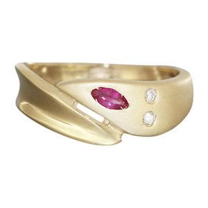 Edler Goldring 585 mit Brillanten u Rubin Damenring Ring Gold Brillantring 54 RW