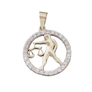 Sternzeichen Waage Gold 585 Anhänger mit Zirkonias Tierkreiszeichen 14 Kt