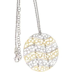 Silberkette u. großer runder Anhänger Sterlingsilber 925 Gold Collier Halskette