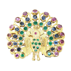 Großer Pfau Gold 585 Anhänger od. Brosche mit Rubin Saphir Smaragd Goldbrosche