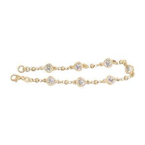 Armband Silber 925 Gelbgold vergoldet Armkette mit herzförmigen Zirkonias Silberarmband Gold