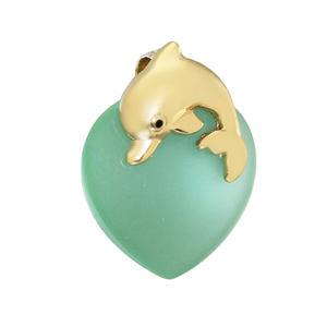 Delfin Anhänger Gold 375 zartgrünes Herz mit Golddelfin Kettenanhänger 9kt Damen