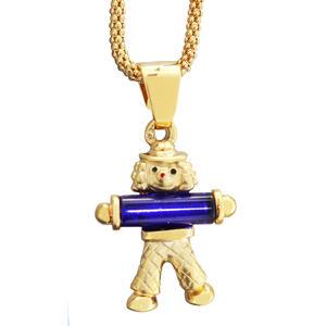 Clown Anhänger Gold 375 Goldclown Kettenanhänger blau mit Himbeerkette
