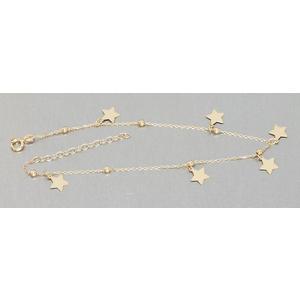 Fußkette Gold 585 Stern Anhänger funkelndes sexy Fußkettchen Sterne 14 Karat