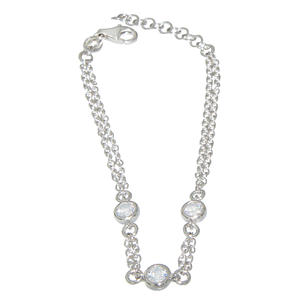 Armband Silber 925 Zirkonias Armkette massiv Karabiner Damen Armschmuck variabel