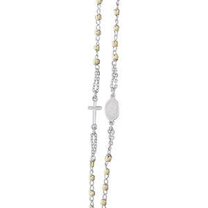 Rosenkranz Kette Sterling Silber 925 mit Kreuz u. Hl. Maria Kugelkette Silberkette tlw. Gelbgold vergoldet